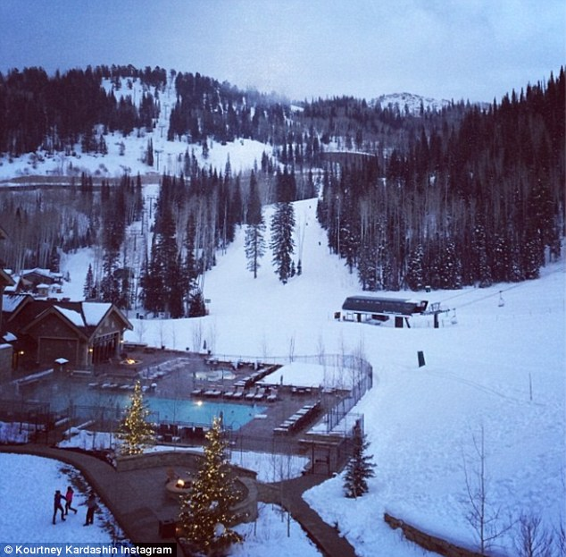 Gorgeous: Kourtney posted a landscape shot of the ski resort on her Instagram that same day