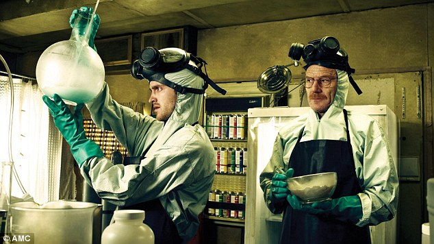 'Breaking Bad': Walter White (right) is shown in the hit television show cooking crystal meth with Jessie Pinkman