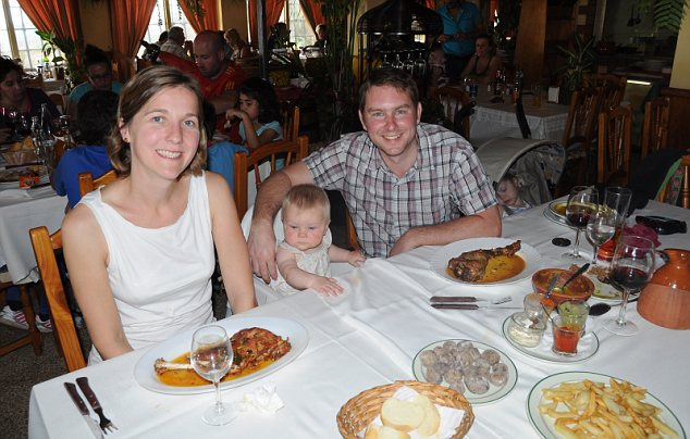 Hunger games: Liz, Hannah, Matt and Catherine tuck into hearty dishes of roasted goat at a traditional mountainside restaurant