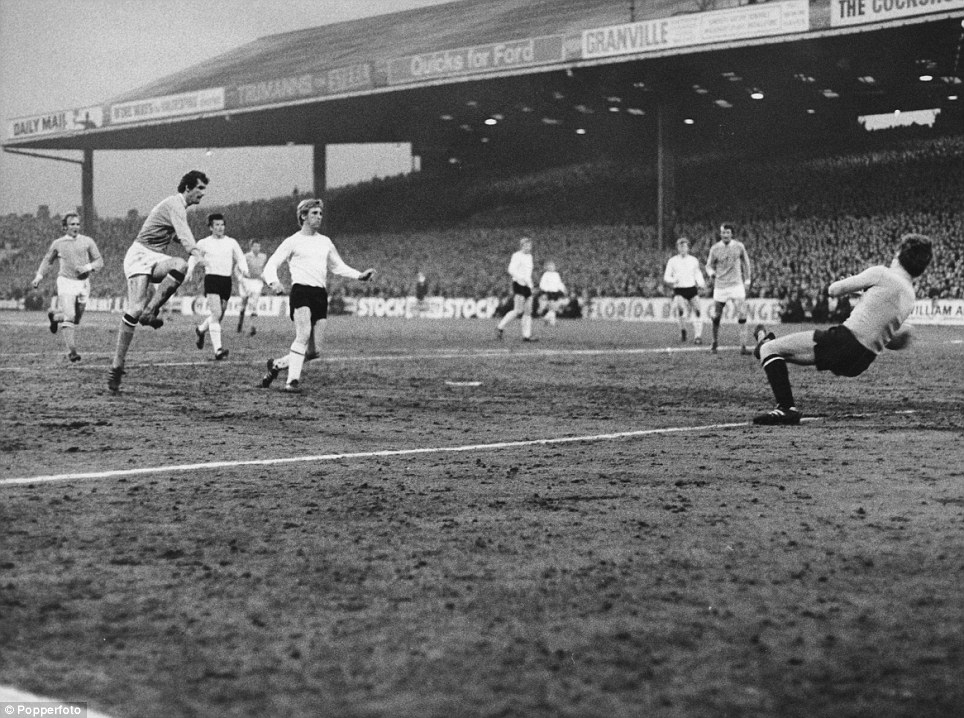 Mick Doyle (second from left) scores for Manchester City during the European Cup Winners Cup Semi-Final, 2nd Leg, against FC Schalke 04 at Maine Road, Manchester, 15th April 1970. Manchester City won the match 5-1 and went on to win the tournament. (Photo by Popperfoto/Getty Images)