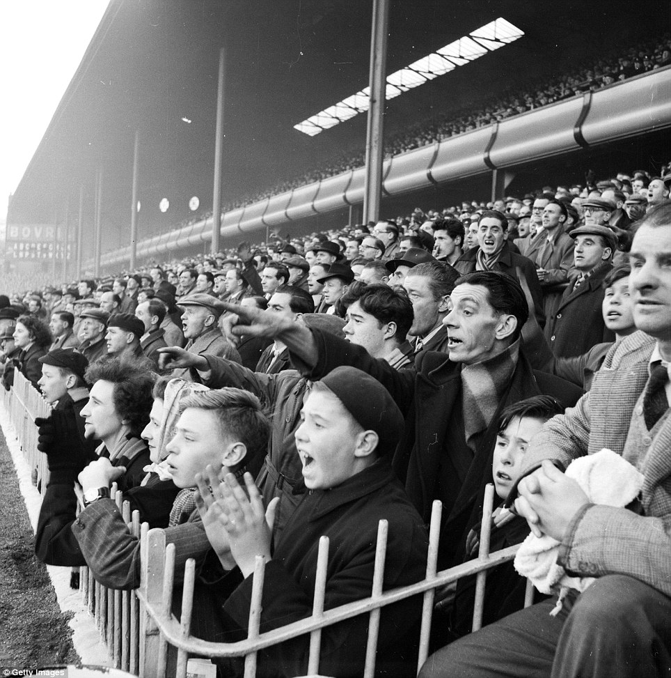 6th February 1954:  Fans of Aston Villa Football Club watch their team play a home game at Villa Park in Birmingham (Photo by Bert Hardy/Picture Post/Getty Images)