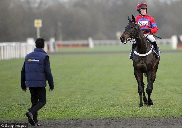 Blow: Barry Geraghty aboard Sprinter Sacre after pulling up in the williamhill.com Desert Orchid Steeple Chase at Kempton Park