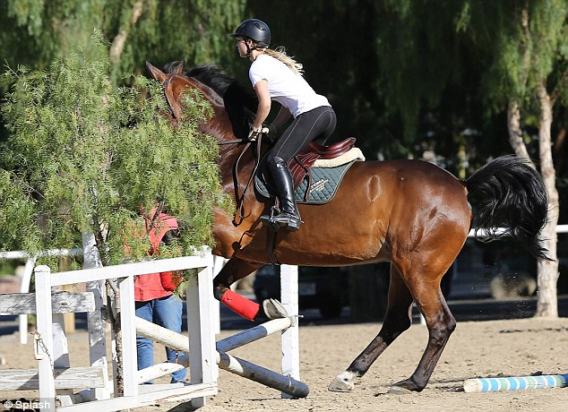 Showing off her form: Kaley is a keen equestrienne and particularly enjoys jumping