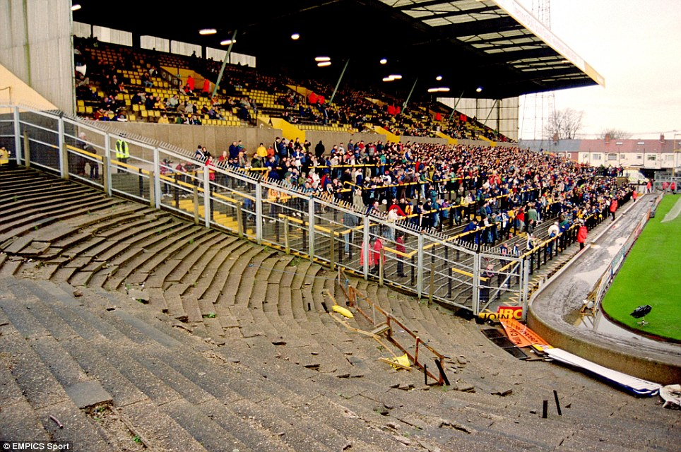 A view of the main stand at Boothferry Park, home of Hull City, across the terracing