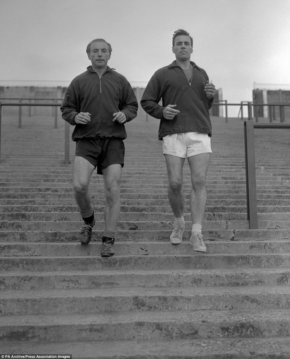 Stanley Matthews, left, with team mate George Farm training at Bloomfield Road, Blackpool