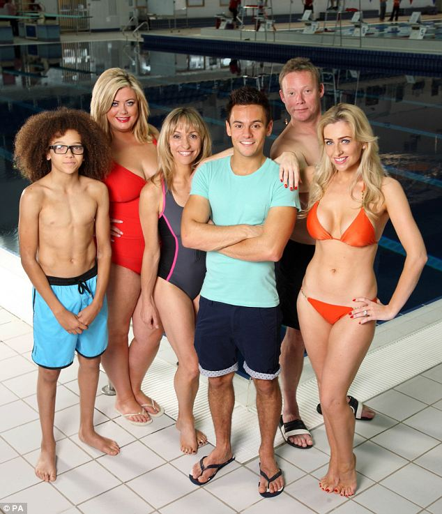 The gang: Perri Kiely, Gemma Collins, Michaela Strachan, Ricky Groves and Gemma Merna are being coached by Olympian Tom Daley