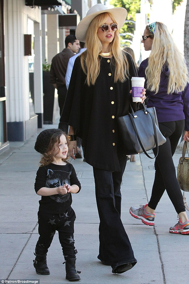 Bonding time: Rachel Zoe, who gave birth to her second son nearly two weeks ago, and her husband Rodger Berman take their first born Skyler to Color Me Mine in Beverly Hills on Friday