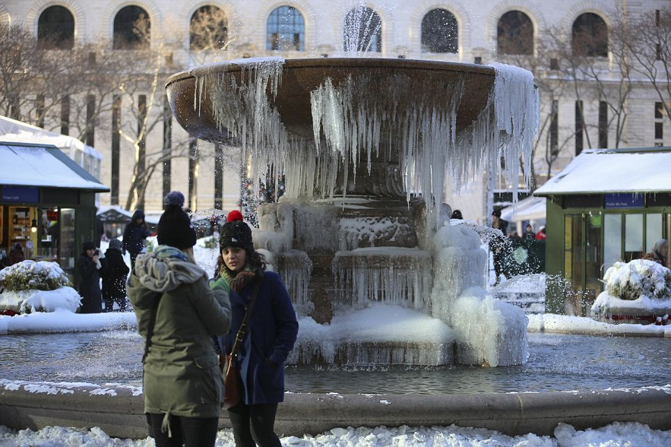 Frozen stiff: The cold blast that hit much of the East coast- including New York City's Bryant Park- has left a trail of ice and snow in its wake