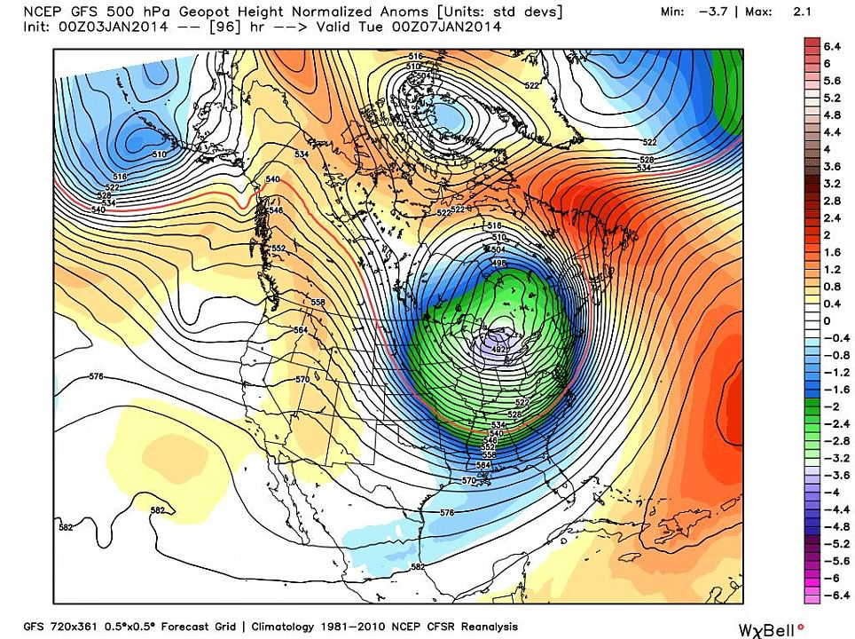 Eye of the storm: A polar vortex is expected, which happens when an area of cold low pressure that typically circulates around the Arctic during the winter