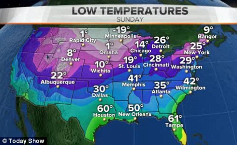 Record lows approaching: This map of the United States shows the low temperatures for Sunday going into Monday