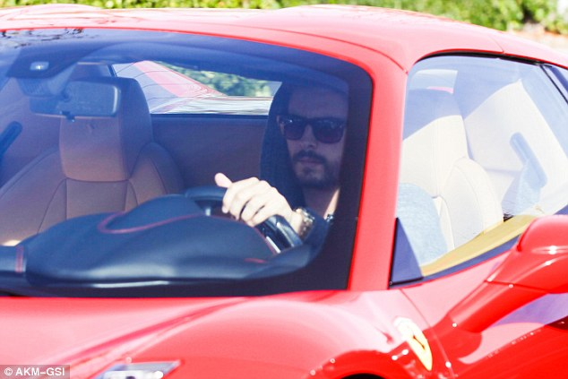 Day date: Kourtney's boyfriend - and father of her children - Scott Disick decided to join her for lunch