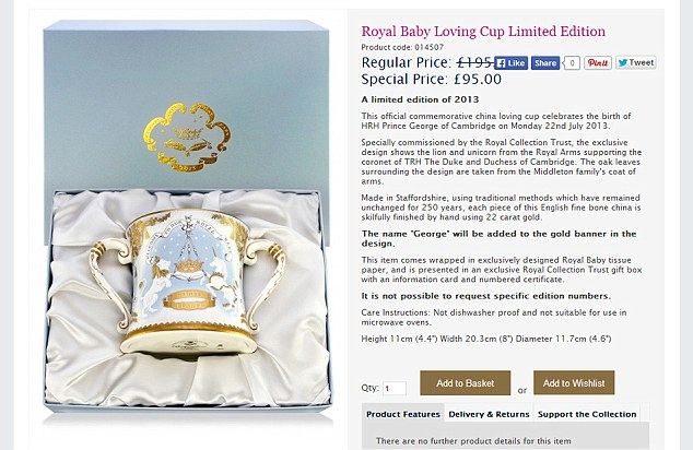 Cut price: A limited edition loving cup will set you back £95 instead of an eye-watering £195