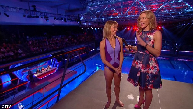 Sporty: Michaela chats to host Gabby Logan as she competes on Splash!