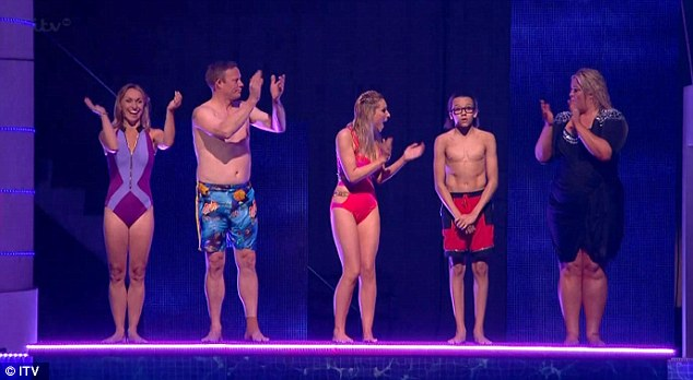 Supportive: Splash! contestants Michaela Strachan, Ricky Groves, Gemma Merna and Gemma Collins cheer as Perri Kiely wins a place in the semi-final