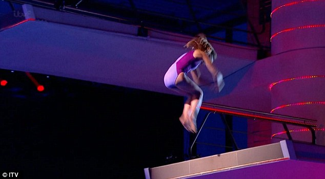 Elegant: TV presenter Michaela executed a respectable dive on her first appearance on the show