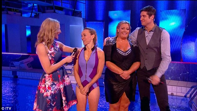 Sporting: Michaela Strachan shows off her swimsuit figure as she performs in Splash! alongside Gemma Collins and hosts Gabby Logan and Vernon Kay