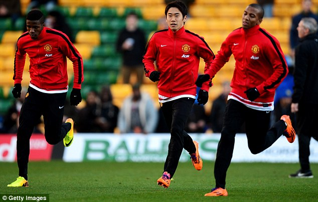 Frozen out: Wilfried Zaha (left) has barely featured for Manchester United since his move from Crystal Palace