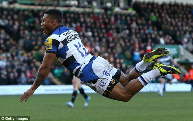 Flying high: Eastmond dives to score the first try during Bath's 43-25 defeat to Northampton Saints