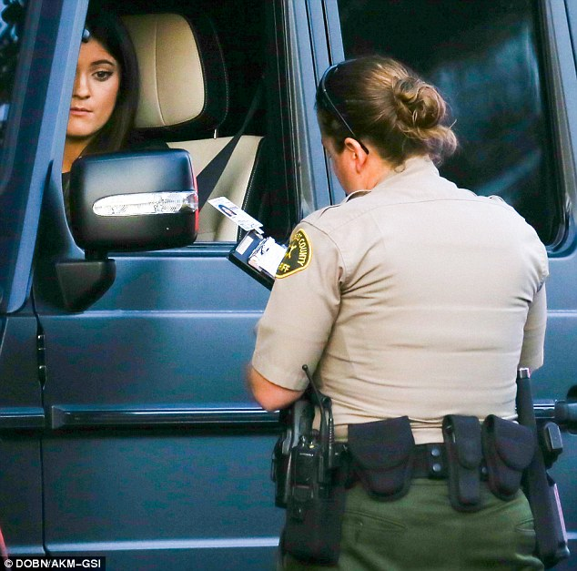 A fair cop: Kylie Jenner looked glum after being pulled over for allegedly speeding in Malibu on Saturday