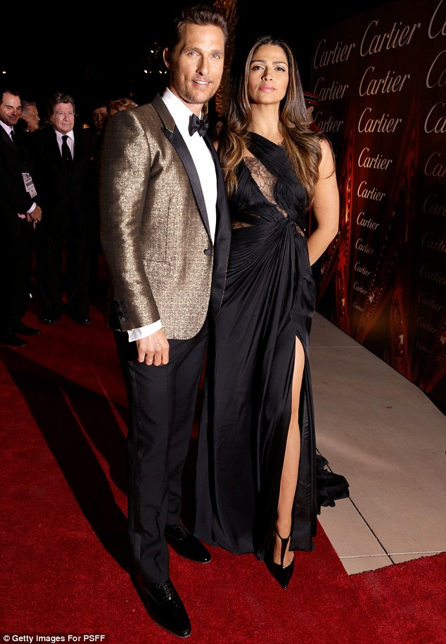 Going for the gold: Camila's husband Matthew McConaughey arrived in a glittering blazer