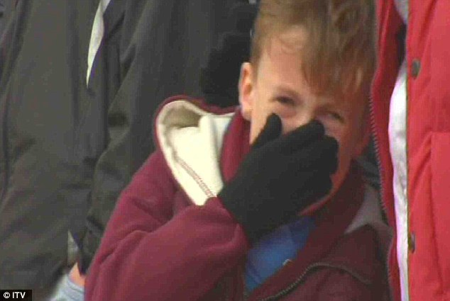 Hard to watch: One young West Ham supporter was spotted crying by TV cameras during the FA Cup defeat