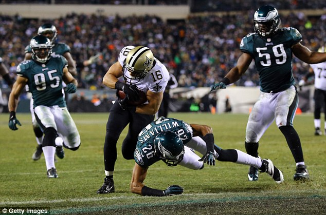 All the way: Lance Moore scores a touchdown for the Saints on a 24-yard pass from Drew Brees