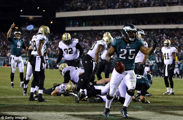 Reliable: LeSean McCoy led the Eagles fightback from a 13-point deficit with this touchdown