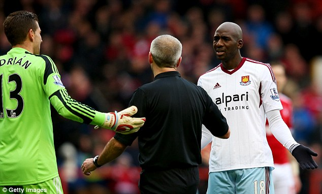 Bad day at the office: Things went from bad to worse for West Ham as the game progressed
