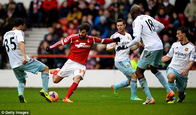Classy performance: Nottingham Forest's Djamel Abdoun caught the eye as West Ham crashed out