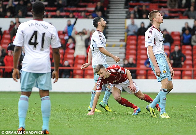 Game over: When Jamie Paterson made it 3-0 there was no way back for West Ham