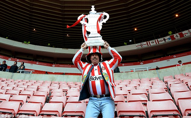 Up for the cup: A Sunderland fan shows his excitement for the FA Cup prior to kick-off against Carlisle