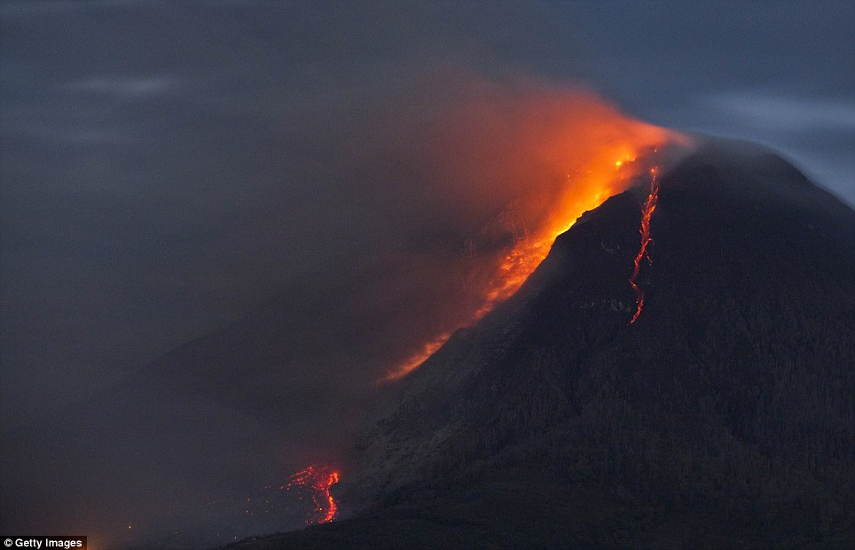 Thousands of panicked villagers have been forced to flee their homes after Mount Sinabung erupted more than 50 times in a single night