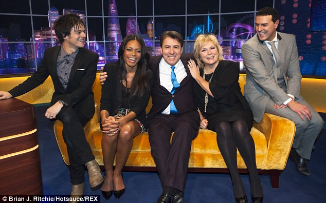High company: Allen had his own dressing room, like TV personality Jonathan Ross (pictured centre)