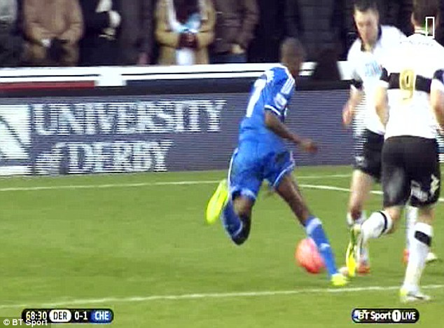 No way: Ramires was never going to win a penalty with this awful dive against Derby County