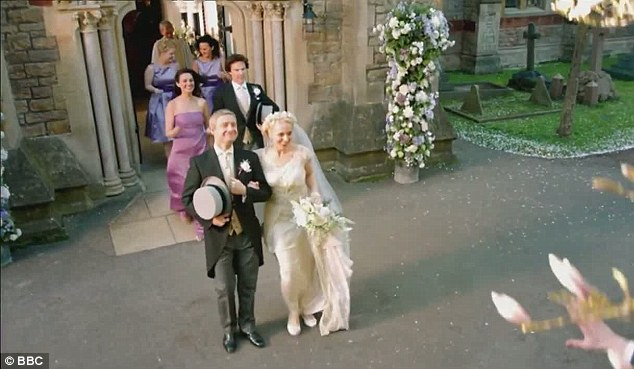 The wedding of Dr. Watson and Mary Morstan was no doubt a happy occasion for them and for actors Martin Freeman and his real-life partner Amanda Abbington, but less so for the viewers at home