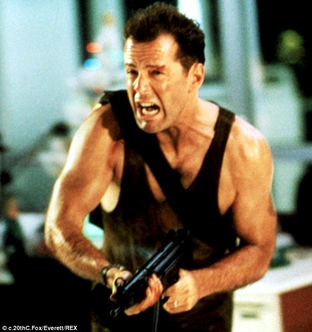 At the peak of his powers: Bruce became an action icon after starring in 1988 classic Die Hard