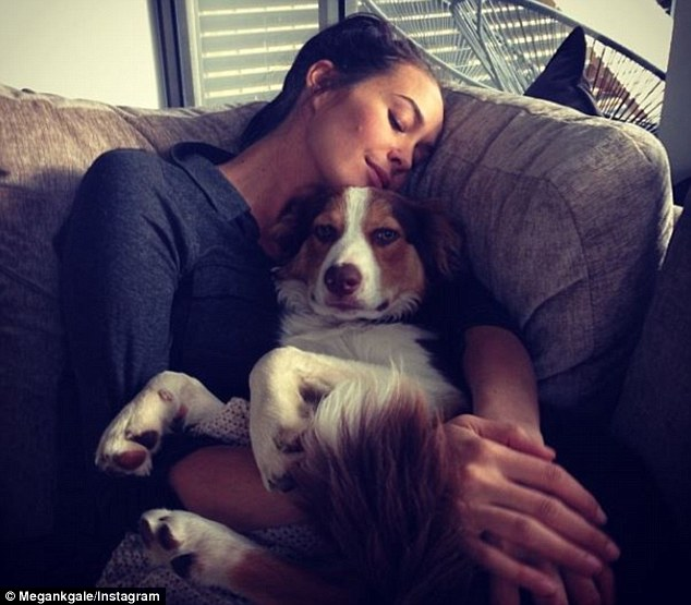 Maternal Megan: Gale snuggled up to her pooch Bosco on the sofa for an afternoon nap in an Instagram picture earlier this week