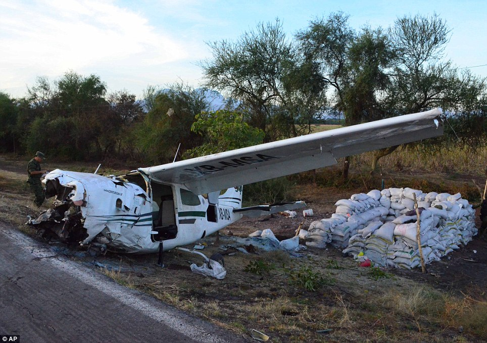Smash: This plane crashed in western Mexico on Sunday, killing one man and injuring four others including vigilante group leader, Dr Jose Manuel Mireles