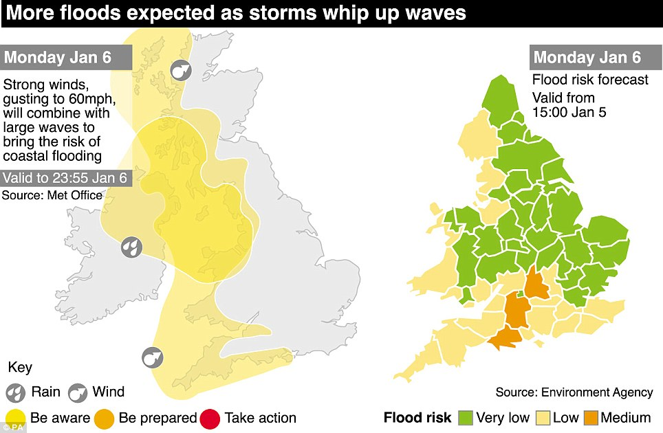 Graphic: Ongoing flooding is expected on the Somerset Levels and rivers in the South East, including the Severn, remain 'very high' after recent rainfall