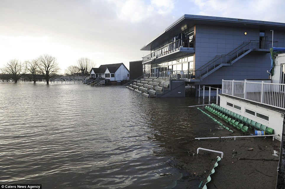 Damaged: The Worcestershire County Cricket Club ground was covered in floodwater today as the South-West was battered by severe weather conditions
