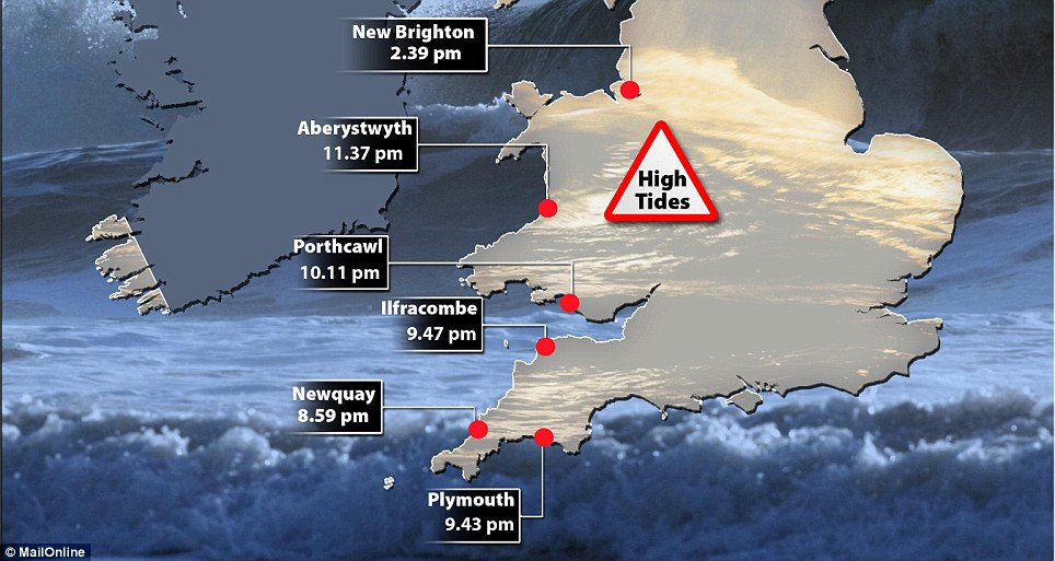 When to expect them: This map shows some of the high tide times for Wales and the South-West today, including Newquay and Aberystwyth