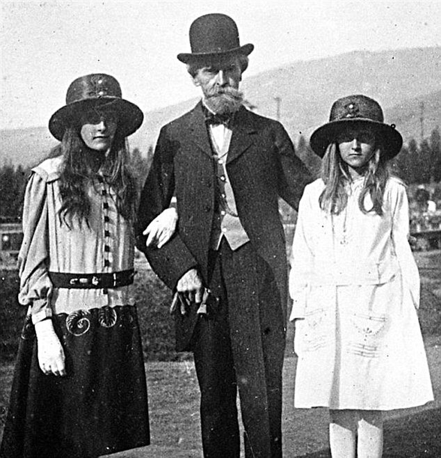 Wealthy family: Huguette Clark, right, with her father, William, and older sister, Andree, pictured in 1917