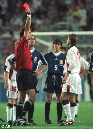Becks appeal: The England midfielder saw red for this clash with Simeone at the 1998 World Cup
