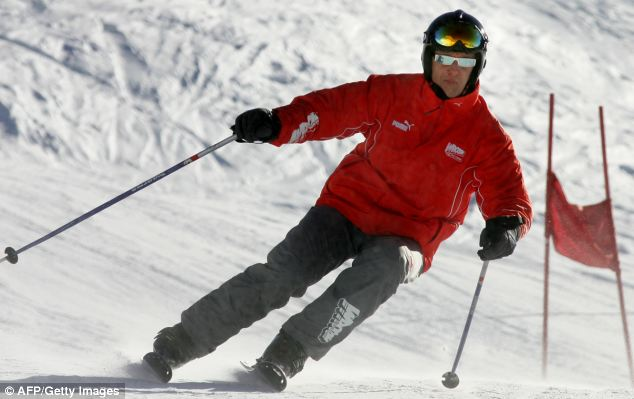 Premonition: Former Formula One driver Michael Schumacher, pictured skiing in the northern Italy in 2005, made a will after a premonition about what could happen in 'everyday life'