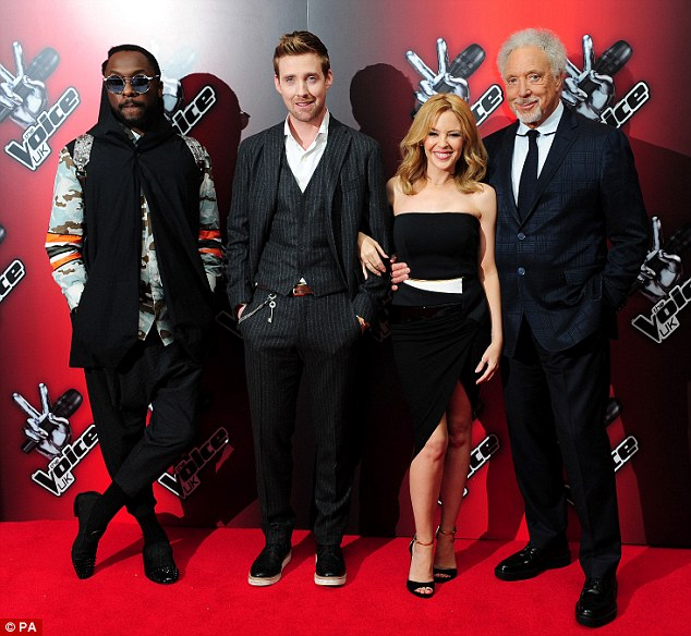 The team: will.i.am, Ricky Wilson, Kylie Minogue and Sir Tom Jones together for the launch