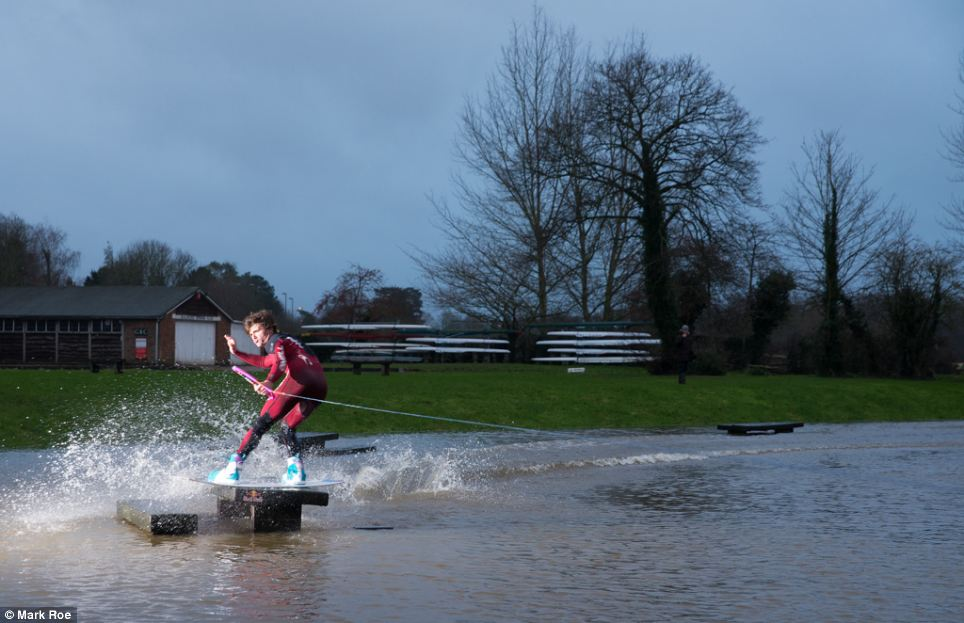 The two boarders then moved on to Shalford Park in Guildford to try their hands at some jumps and tricks (pictured)