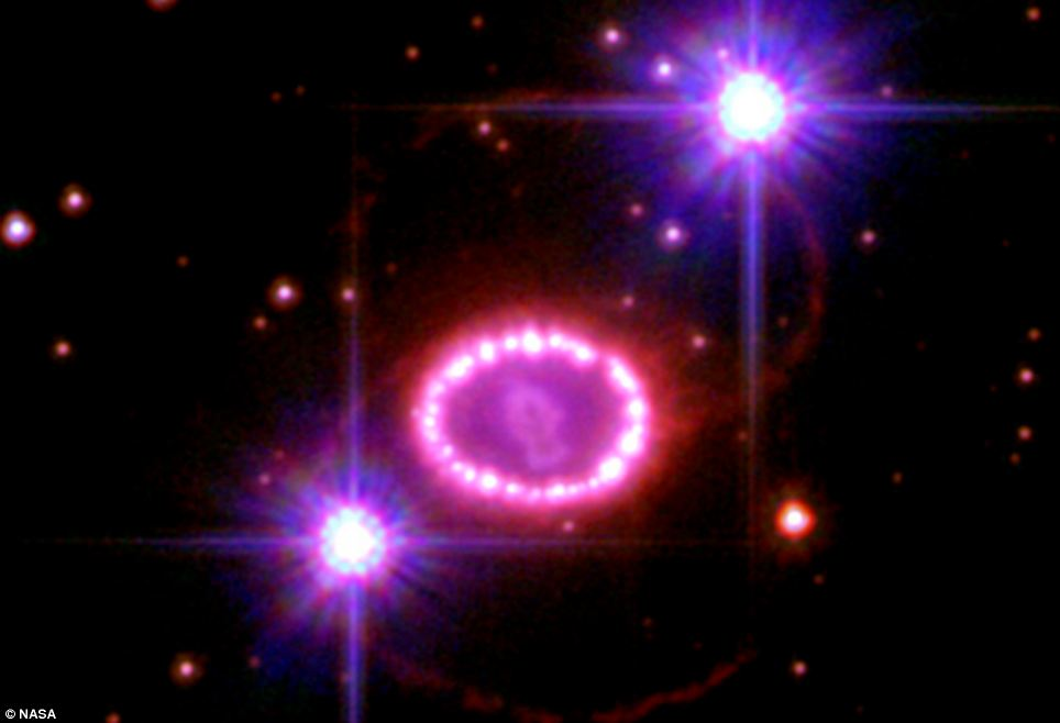 Supernova 1987A was the closest exploding star seen in modern times. It occurred in the Large Magellanic Cloud, a small galaxy that orbits our own Milky Way. Images taken by Nasa's Hubble Space Telescope were combined to make this composite of the blast's expanding debris