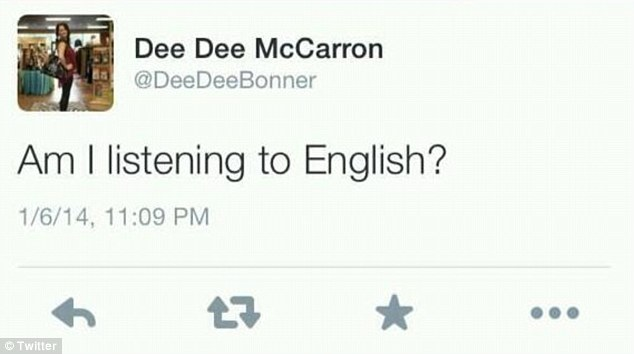 Ill advised: This is the tweet that Dee Dee McCarron posted to Twitter as she was watching Jameis Winston being interviewed live on ESPN as Florida State won the BCS Championship against the Auburn Tigers