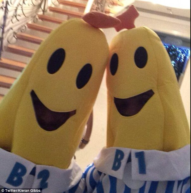 Bananas in Pyjamas: Kieran Gibbs posted this picture on Twitter of the pair at Arsenal's Christmas party