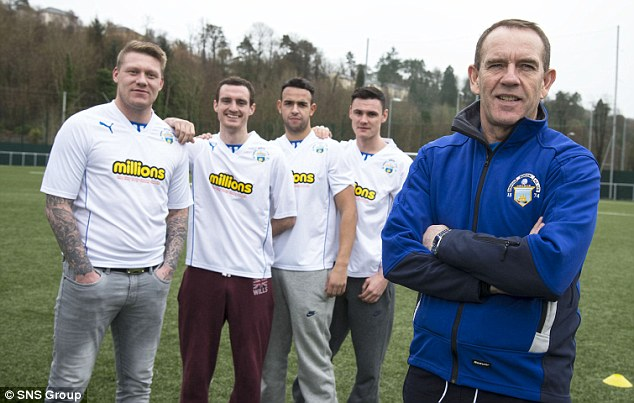 All smiles: Morton manager Kenny Shiels (right) as he unveils signings (from left) O'Connor, David Robertson, Darren Cole and Jamie McCormack.